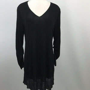 Eileen Fisher Two Tone Tunic Blouse Sheer Size Lg